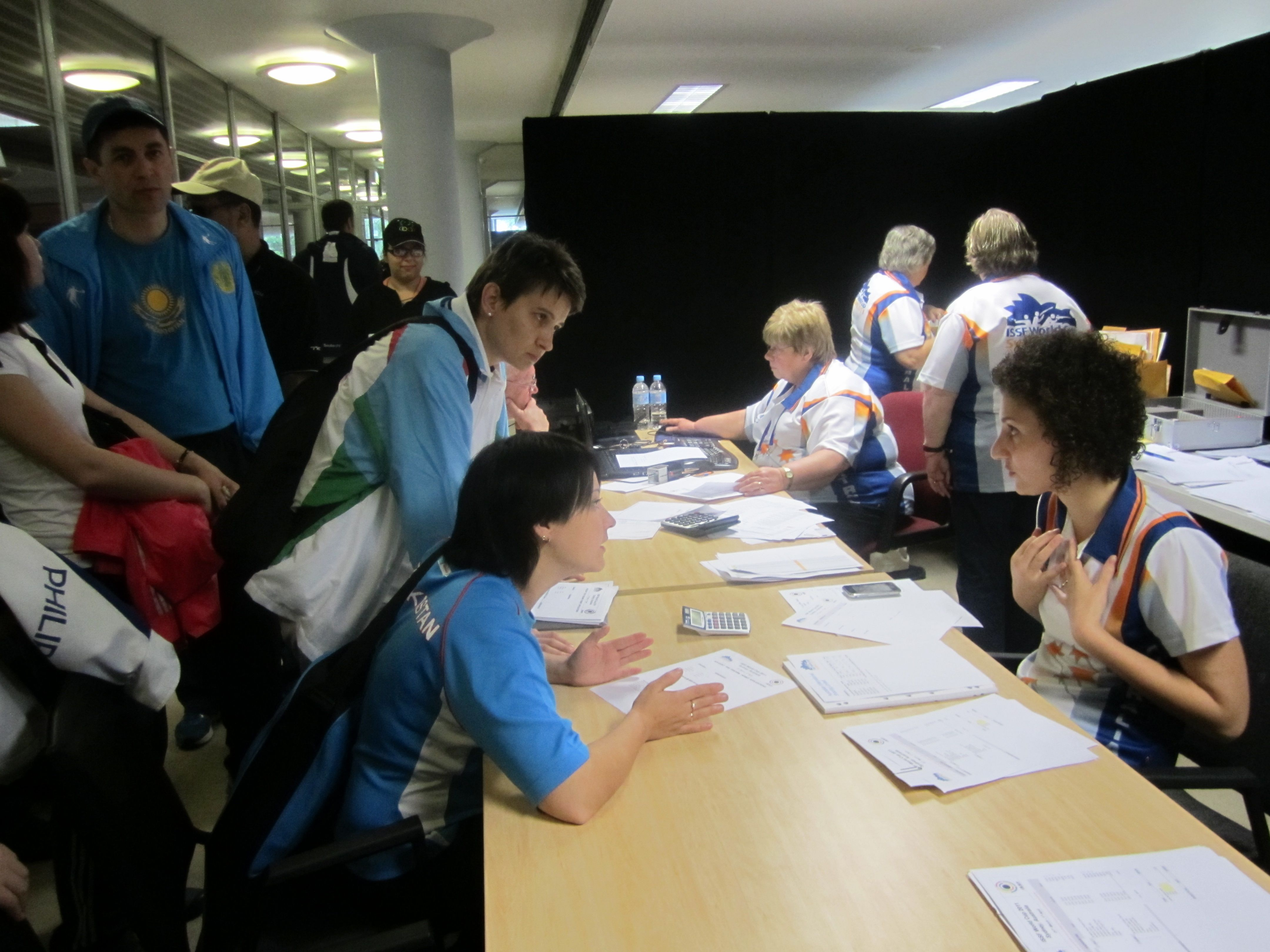 Accreditation desk at Syndey World Cup 2011